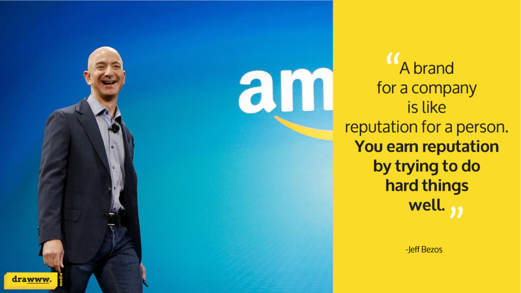 Jeff Bezos, Amazon's founder and CEO, in a company presentation with one of his most popular brand-reputation quotes