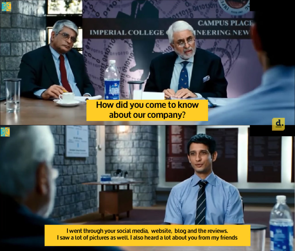 candidate answering in an interview regarding the brand, represented by 3 Idiots meme
