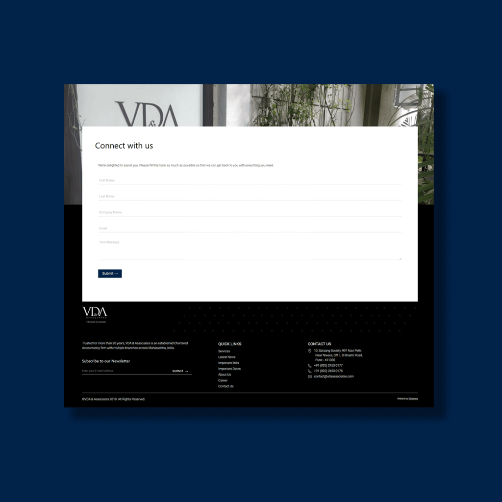 Footer of VDA and Associates Website