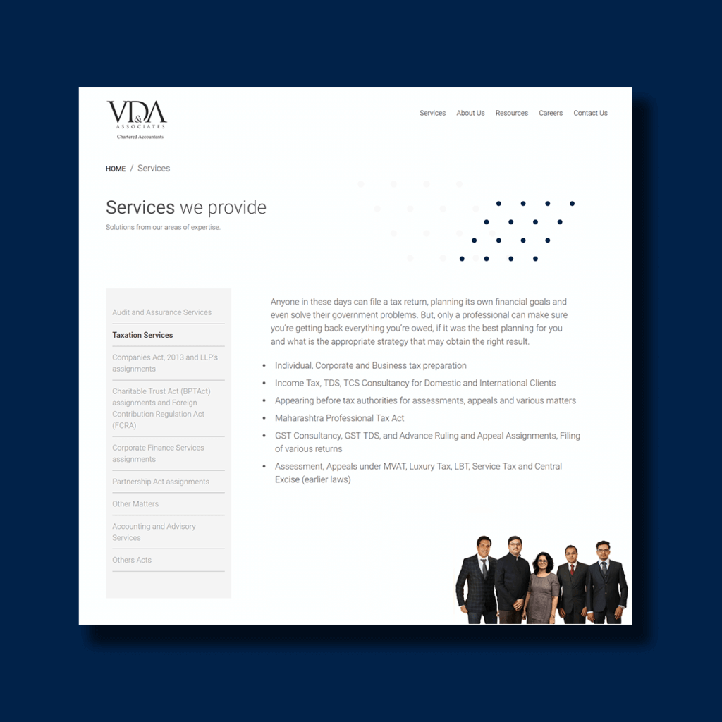 Interface of VDA & Associates' Service Page